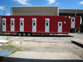 Striking Red Bunkhouse for Bates Amusements